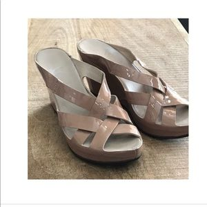 AGL Shiny Nude Wedges Sandals